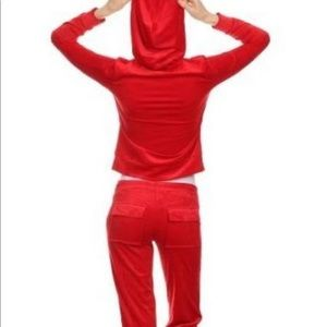 Red Velour Jogging Set